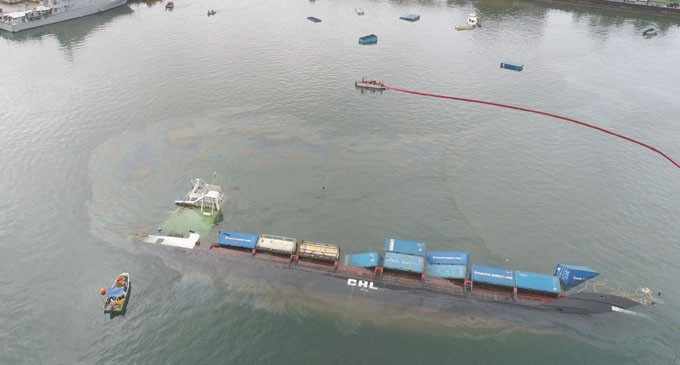 The 89 metre vessel developed a severe list following loading at its berth. It was towed to a safe location away from the port area, where it rolled over and sank in 15m of water.