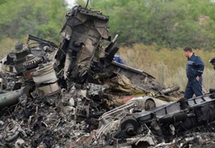 The wreckage of passenger plane flight MH17, which was shot down in July 2014.