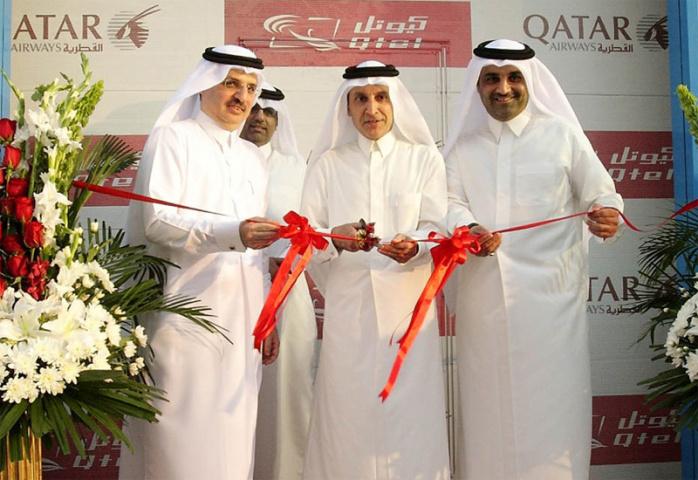 Qtel and Qatar Airways celebrate their partnership.