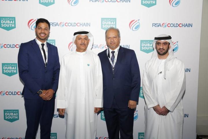 Photo from left to right: Abhishek Shah, Co-founder and CEO, RSA Logistics; H.E. Khalifa Al Zaffin, Executive Chairman, Dubai Aviation City Corporation and Dubai South; Ajay Shah, Co-founder and Chairman, RSA Logistics; Ahmed Al Ansari, Acting CEO, Dubai South.