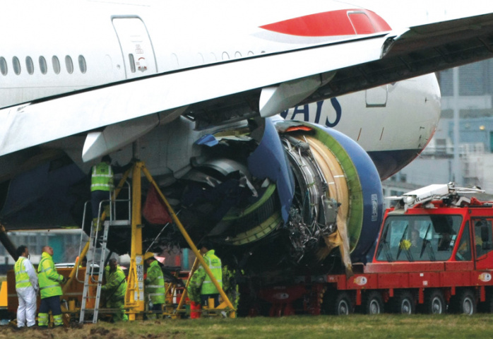 A Boeing 777 belonging to British Airways lost power on its final approach  to Heathrow airport on January 17, 2008