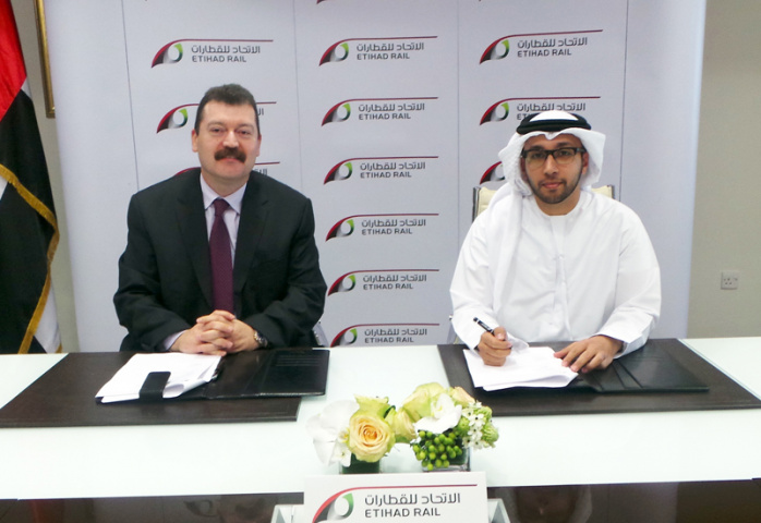 Naser Bustami, general manager of Stevin Rock, with Faris Saif Al Mazrouei, acting CEO of Etihad Rail.