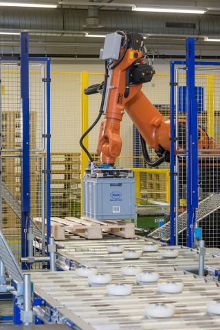 A total of 28 pallet stacker cranes are used to store and retrieve items in the fully automated logistics facility.