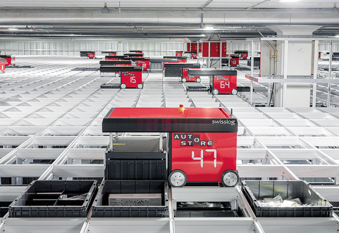 The AutoStore automated small parts storage system quickly processes small parts orders and single-item picking.