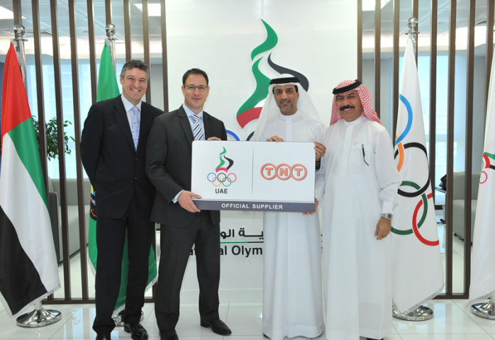 TNT Express officials with UAE National Olympic Committee representatives.