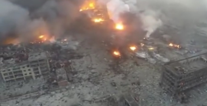 A huge blast radius around the warehouse shows the extent of the explosions' power.
