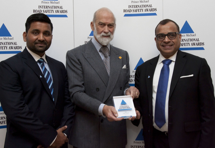 (L-R) Tristar GM for HSEQ &Sustainability Muhammad Akber, Tristar Group CEO Eugene Mayne and HRH Prince Michael of Kent, the Patron of the Commission