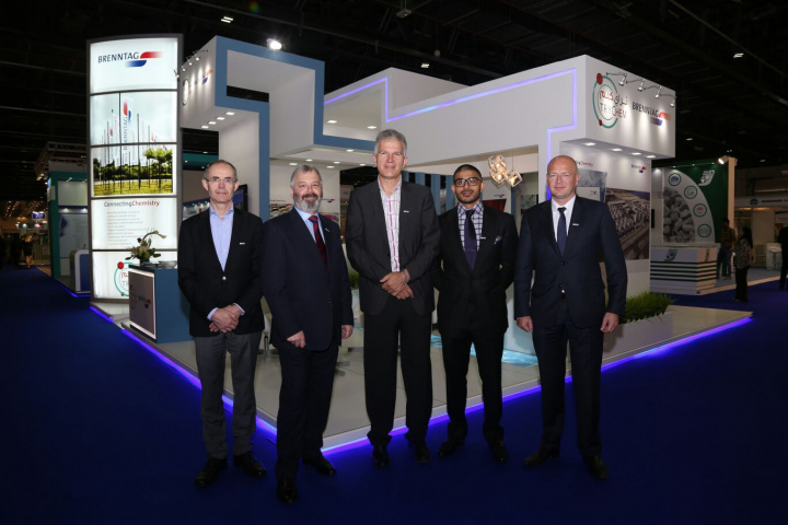 Left to right: Carl Blomme, Regional President of Brenntag Europe West & MEA, Martin Rimmer, European Marketing Manager Coatings & Construction of Brenntag, Michael Thompson, MD of Brenntag MEA, Jonathan Mayne, COO of Trychem-Brenntag and Alejandro Pattyn, CEO of Trychem-Brenntag.