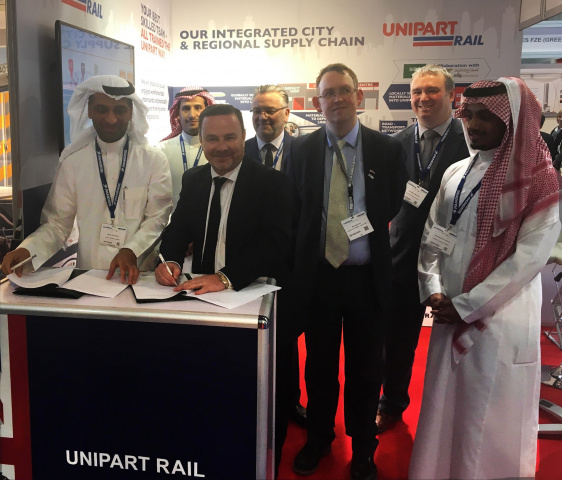 UK Rail Minister Paul Maynard MP attended the signing of a memorandum of understanding between Unipart Rail and Arabian Railway Company during the Middle East Rail 2017 conference in Dubai.