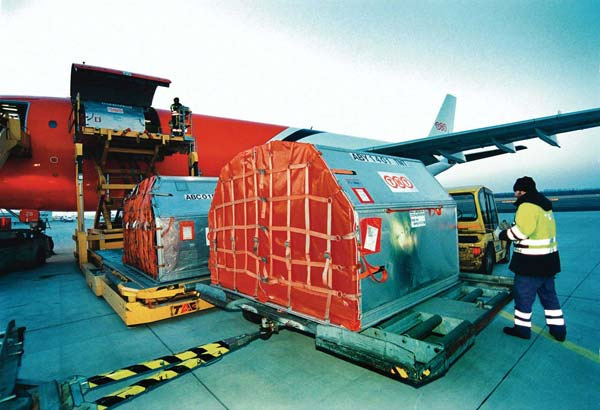 Cargo is transferred at Dubai International Airport