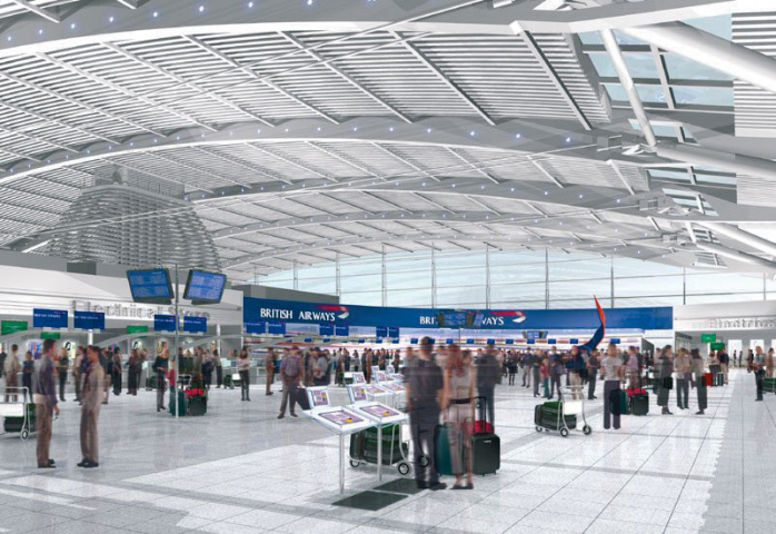 NO HANGING AROUND: The airport?s new terminal will have 96 self service check-in kiosks to reduce passenger waiting times.