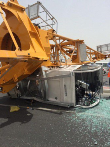 A British man was killed outside Doha Port when a shipping container fell from a truck onto his car.