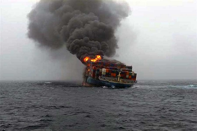 A container ship is ablaze off Germany (image for illustrative purposes only)