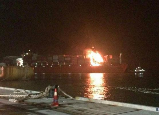 United Arab Shipping Company's 13,500 teu, 2012 built UASC Alula has suffered damage following a container blaze in the Hamburg. (Illustrative purpose
