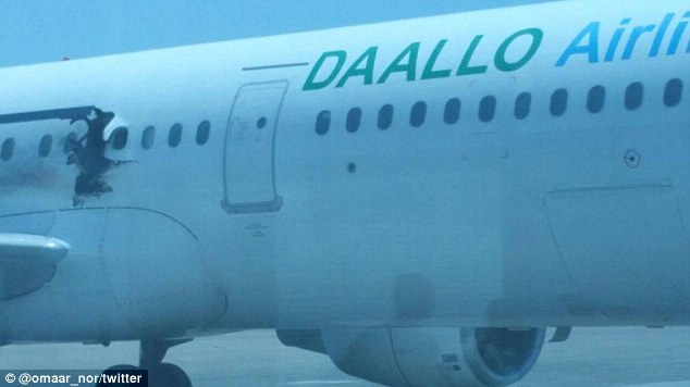 The blast punched a six foot by three foot hole in the Airbus A321's fuselage.