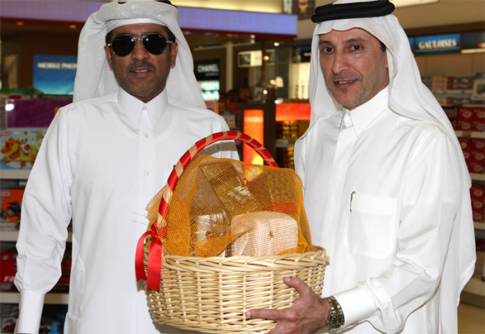 The first person to arrive at Doha's new terminal receives a sumptuous hamper.