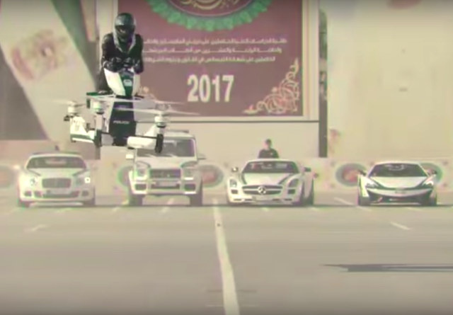 The hoverbike concept, developed by Russian company Hoversurf, was unveiled at Dubais GITEX Technology Week.
