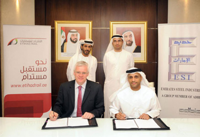 Etihad and Emirates Steel officials sign the MoU