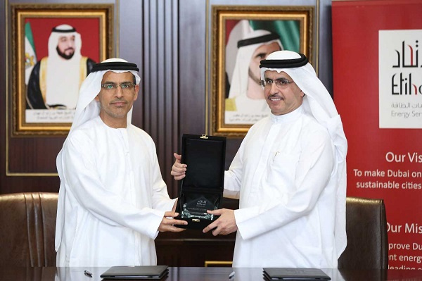 The agreement was signed by HE Saeed Mohammed Al Tayer, Chairman of Etihad ESCO, and HE Abdulrahman Al Saleh, Chairman of Dry Docks World
