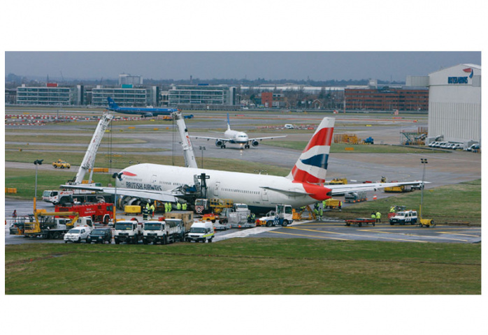 HEATHROW AIRPORT: BA flight 777 crash lands on January 18th 2008. (Cate Gillon/Getty Images)