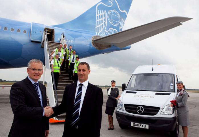 Andrew Harrison, Manchester Airport Managing Director and Jeff Wilkinson, Etihad Airways Vice President for Maintenance