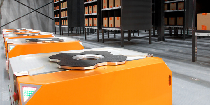 Butler is the company's flagship product. It is a material handling system comprising small robots that traverse on a grid of paths across the warehouse floor to fetch racks of items to the packer.