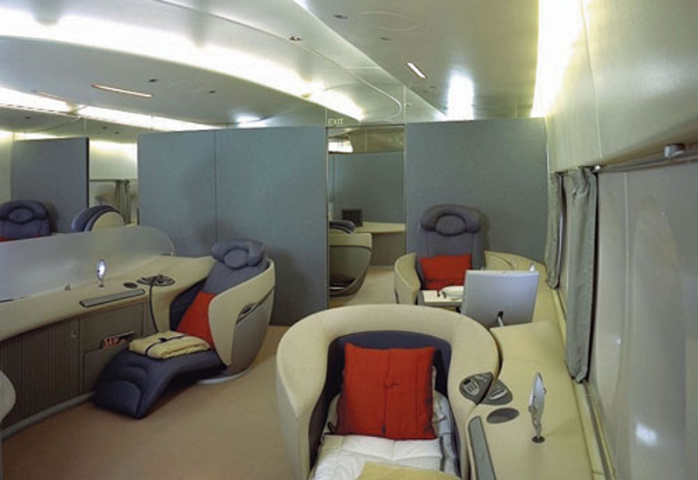AIRY FEEL: The light colour of the A380's interior was chosen to enhance a feeling of space and create a more natural feeling to fly in.