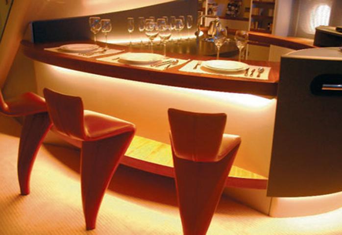 Intelligent lighting creates various scenarios to influence the mood of passengers.
