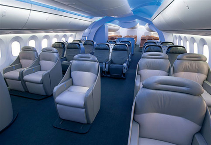 787's interior gives crew easy access to food and beverages.