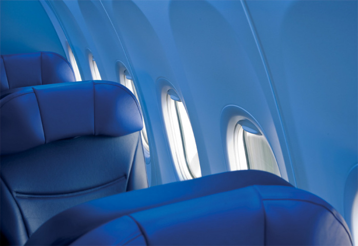 The use of lightweight materials to reduce fuel consumption is a key trend in aircraft interior design.