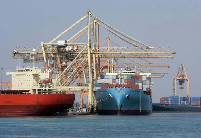 A container ship is unloaded at Jeddah Islamic Port, scene of heavy congestion in the last month or so.