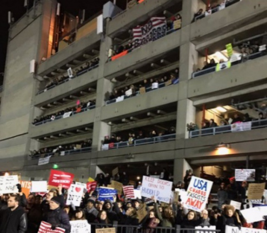 US airports including JFK (pictured) have been rocked by protests over Trump's travel ban.