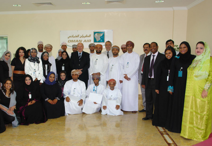 Graduates from the Oman Air call centre training course