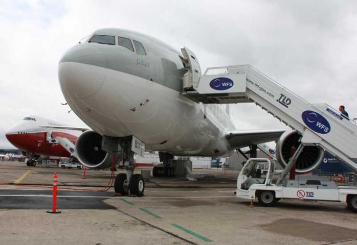 Qatar Airways aircraft on display at Paris Air Show 2011