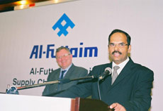 Sebastian Thomas, logistics manager of Al-Futtaim retail division, announces award winners.