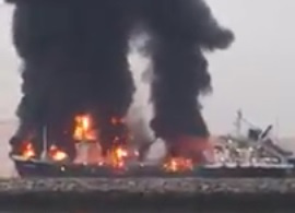 The ship was in the port of Al Hamriya in Sharjah when the fire broke out.