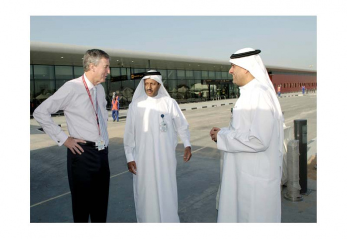 Gary Chapman, president of Group Services and Dnata, and Ismail Ali Albanna, executive vice president, Dnata are given a tour of the new facilities by