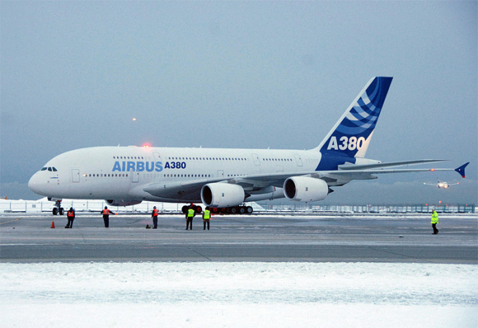 An A380 sits on the tarmac at Vancouver International Airport (Don MacKinnon/AFP/Getty Images).