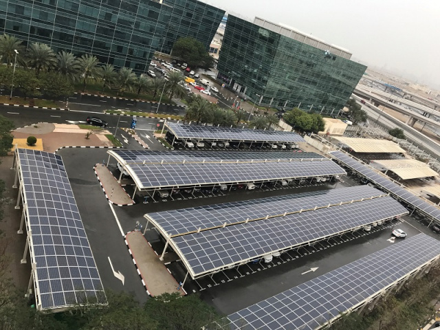 DP World has been installing 88,000 solar panels in Jebel Ali and Port Rashid on the rooftops of buildings, parking lots and warehouses as part of a project to make the freezone one of the most environmentally sustainable in the world.