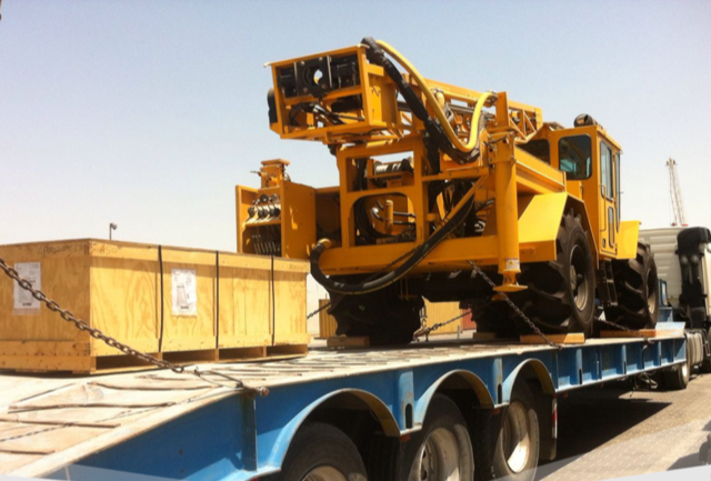 The consignment of eight heavy drill rig units weighing 13-tons each, a water tanker and nine cases of spare parts was picked up at Umm Qasr Port in Iraq.