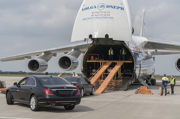 The load consisted of a fleet of Mercedes cars comprising 25 luxury sedans, three police cars and two heavy armoured G-class vehicles.