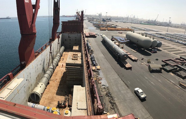 The majority of the cargo handled was heavy and super-heavy ranging from single piece weights of up to 576 metric tons and lengths of up to 76m.