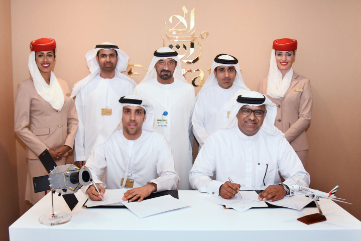 The MoU was signed in the presence of His Highness Sheikh Ahmed bin Saeed Al Maktoum, chairman and chief executive of Emirates Airline and Group, by Nabil Sultan, Emirates divisional senior vice president, cargo and by Salem Al Marri, assistant director general for Scientific and Technical Affairs, Mohammed Bin Rashid Space Centre during the Dubai Airshow.