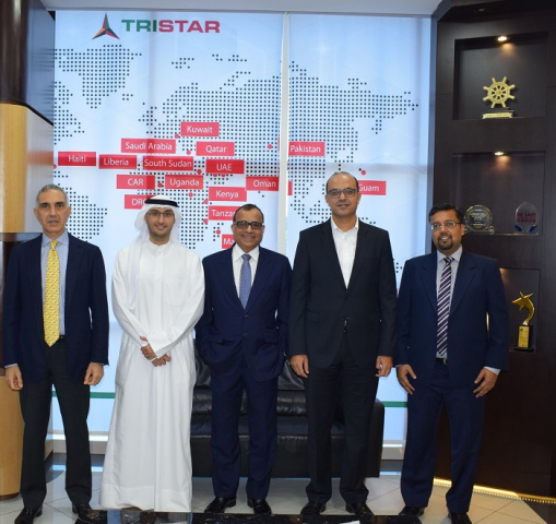 Tristar Group CEO Eugene Mayne(center) with (left to right) Fadi Twainy, Division Head at GIC; Tareq Al Mulla, VP at GIC; Ihab Fekry Aziz Bassilios, Chief Financial Officer at Agility; and  Suresh Poddar, Director at GIC.