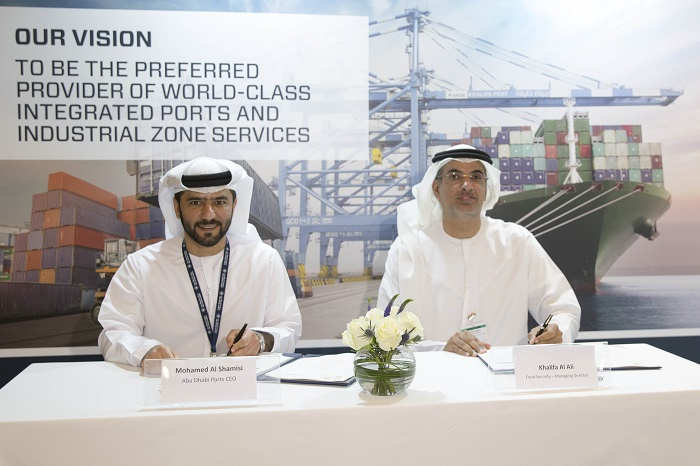 The MOU was signed between Khalifa Al Ali, managing director of the Food Security Centre and Captain Mohamed Juma Al Shamisi, CEO, Abu Dhabi Ports.