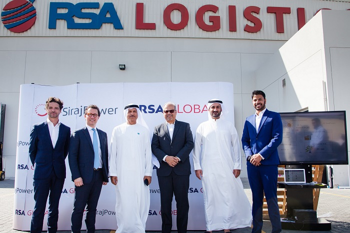 Abhishek Shah, co-founder and group CEO of RSA Global, and David Auriau and Laurent Longuet, directors at Siraj Power, hosted a ceremony at RSA Globals headquarters to showcase the project to customers and VIPs including Khalifa Al Zaffin, executive chairman of Dubai Aviation City Corporation and Dubai South.