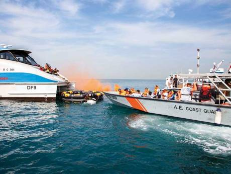 The drill simulated a collision between one of RTAs marine transit modes, Dubai Ferry with 50 persons on board, sparking flames in the rear of the ferry.