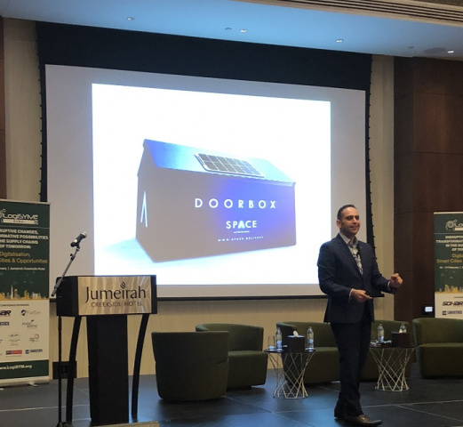 The DoorBox is safe, secure, and helps with the overall efficiency of Eniverse's drone delivery concept, founder Mohammed Johmani told delegates.