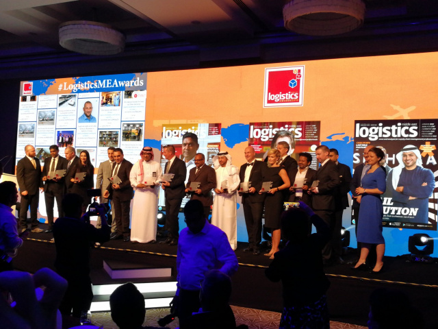All the winners on stage of the Logistics Middle East Awards 2018.