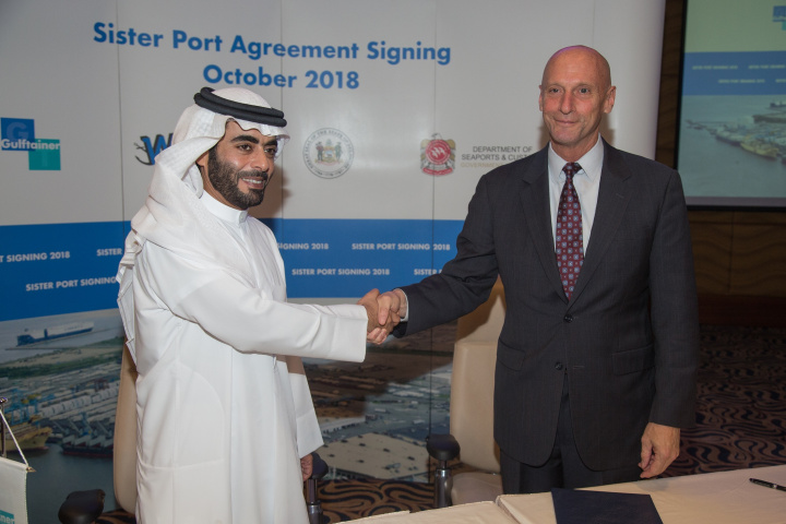 Sheikh Khaled bin Abdullah bin Sultan Al Qasimi, chairman of the Department of Seaports & Customs, Sharjah Airport International Free Zone and Hamriyah Free Zone Authority, and Jeffrey Bullock, secretary of state of Delaware, signed the agreement at the Sharjah Chamber of Commerce.